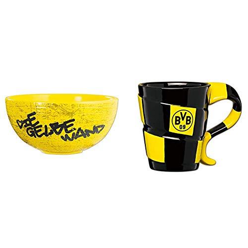Borussia Dortmund, BVB-Müslischale Gelbe Wand, 00 Schwarz/Gelb, 0 & BVB-Tasse mit Schal-Design