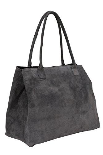 AMBRA Moda Damen Wildleder Handtasche Schultertasche Shopper WL810, Anthrazit, XL