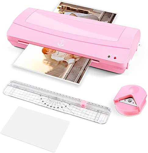 Excellent Quality Laminator Machine, 9 inches Wide, with Paper Trimmer, Laminating Pouches(A6,20pcs)and Corner Rounder, 2 Roller System, Pink