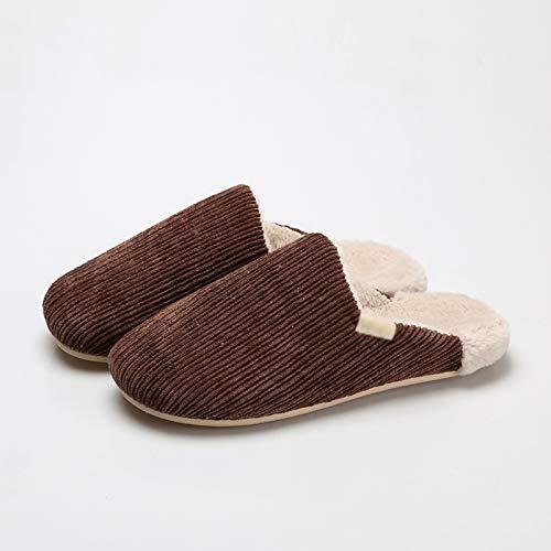 Zapatillas de Casa Zapatillas de algodón de pana de algodón for mantenerse cálidos en otoño e invierno, zapatillas de felpa de hogares de hogares de hogares for hombres Antideslizantes Zapatillas