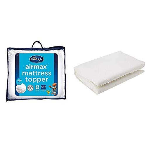 Silentnight Airmax Mattresss Topper, Polyester, White, King, 152 X 200 cm & AmazonBasics Microfibre Fitted Sheet, King, Cream