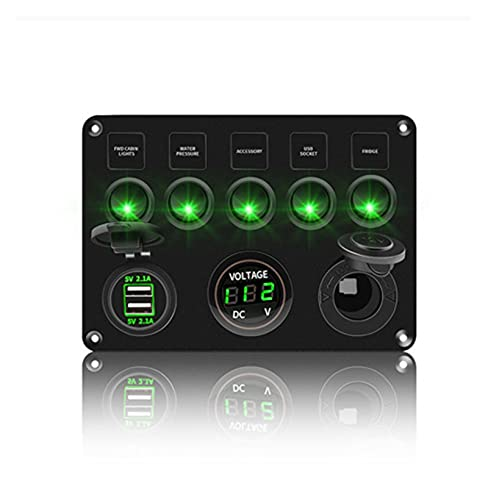 XXIPO STRC Interruptores de palanca Voltímetro digital Panel de interruptores de Rocker Doble USB 12V Ajuste impermeable para el automóvil Barco marino barco LED Accesorios de camión ( Color : Green )