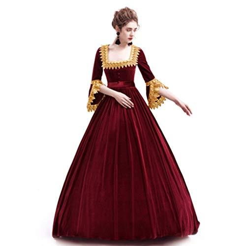 Damen Mittelalter Kleider Gothic Kleid Vintage Königliche Prinzessin Maxikleid Renaissance Partykleider Trompetenärmel Abendkleid Cosplay Verkleidung Karneval Kleidung (S, Rot)