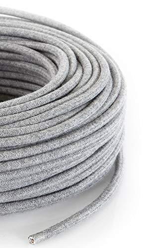 Cable eléctrico redondo/redondo revestido de tela. Color gris algodón. Sección 2 x...