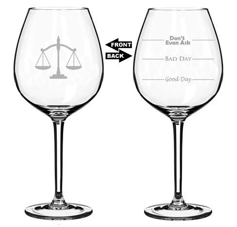 Copa de vino jumbo de 325 ml con dos caras divertidas para el buen día del mal día, no preguntes ni siquiera la escala de la justicia como abogado de abogado.