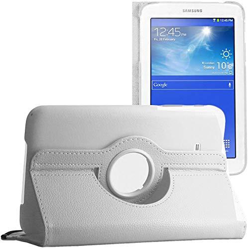 ebestStar - kompatibel mit Samsung Galaxy Tab 3 Lite 7.0 Hülle SM-T110, VE SM-T113 Rotierend Schutzhülle Etui, Schutz Hülle Ständer, Rotating Cover, Weiss [Tab: 193.4x116.4x9.7mm 7.0