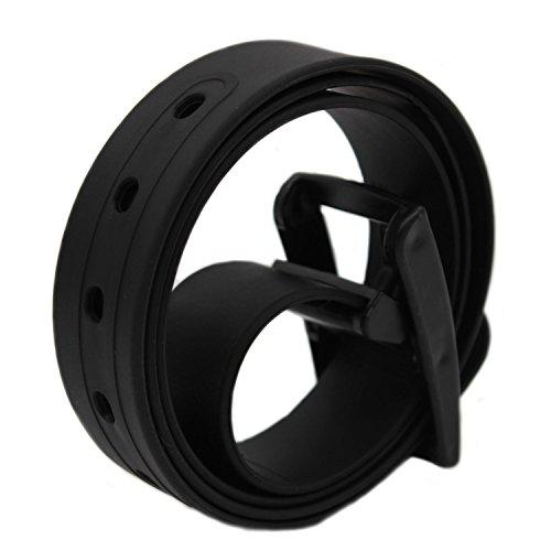 MEISHINE® 115 * 3.5cm Candy Colour Unisex Cintura in Silicone con Fibbia Plastica per Uomo Donna (Nero)