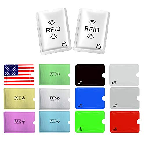 RFID Blocking Sleeves, 14PCS Premium RFID Credit Card Holders for Identity Theft Protection (Set of 12 Credit Card Protector Sleeves + 2 Passport Holders)