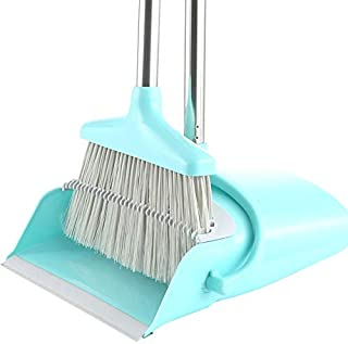 ほうき ちりとり セット 新型 長柄 掃除セット ホウキ 立つほうき 手が汚れにくい 収納に便利 室内 玄関 ホーム 美容室 ショップ最適 業務用 清掃 用品 髪の毛 掃除簡単 (ブルー)