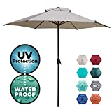 Abba Patio 9ft Patio Umbrella Outdoor Umbrella Patio Market Table Umbrella with Push Button Tilt and Crank for Garden, Lawn, Deck, Backyard & Pool, Beige