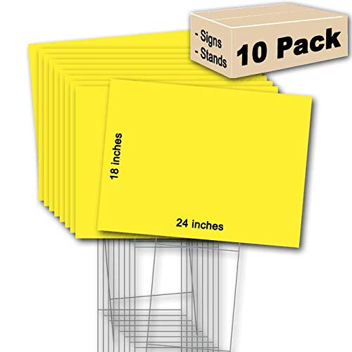 10 Yellow Signs 18''x24'' & 10 Double H 10''x30'' Stakes Ship Same Day