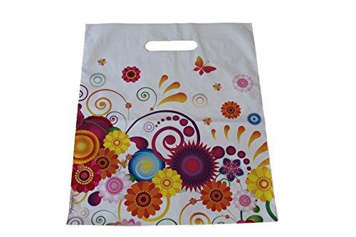 50 Stück Tragetaschen Plastiktüten Flower Power 38 x 45 + 5 cm Einkaufstüten Beutel Shopper Frühling Blumen Grifflochverstärkung reißfest