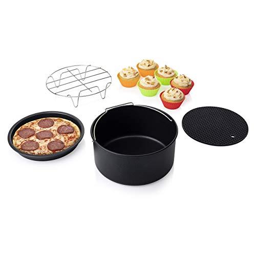 Princess 10-teiliges Zubehör-Set für XL Heißluftfritteuse 4,5L und 5,2 Liter - Topfablage, Pizzablech, Kuchenform, Grillrost, Muffinschälchen, 182012