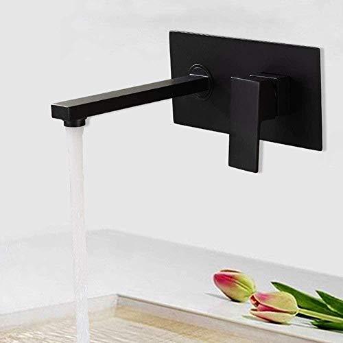 Metal cobre negro mate empotrado lavabo grifo-oscuro en la pared con caliente y frío fregaderos baño lavabo en el grifo agradable práctico