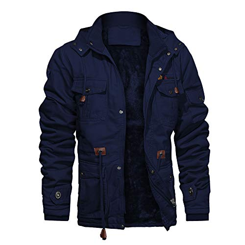 Mens Outerwear Jackets Casual Thick Parka Jacket Men Cargo Coats Big and Tall Full Zip Pullovers Sportwear Hooded Jacket