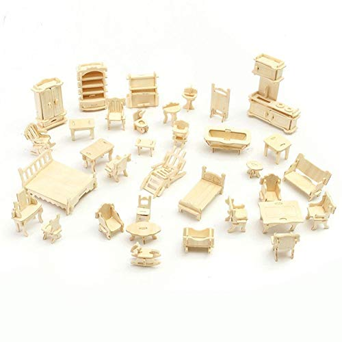 Henreal 34 stuks/set 3D Wooden Miniature Puzzel Dollhouse Furniture Model Mini Puzzle Toys for Children Gift