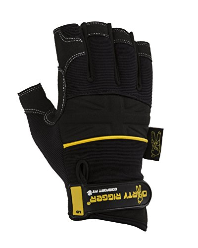 Dirty Rigger Comfort Fit Rigger Handschuhe, fingerlos L schwarz