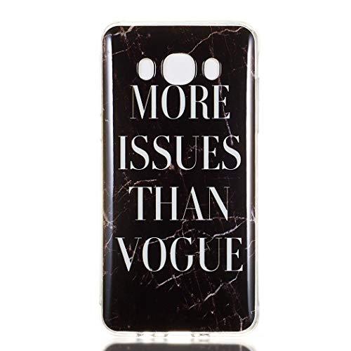 Ycloud Suave TPU Silicona Funda para Samsung Galaxy J5 2016 J510 Smartphone, Mármol Diseño Ligera Delgado Cubierta Trasera Anti-arañazos Protectora Carcasa (Moda Negro)