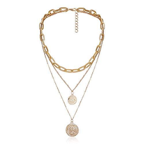 Collar 4 Unids/Set Multi Layer Crystal Cross Letter A Gargantilla Collar Candado Tallado Moneda Rhinestone Collares Pendientes Joyas Goldcolor