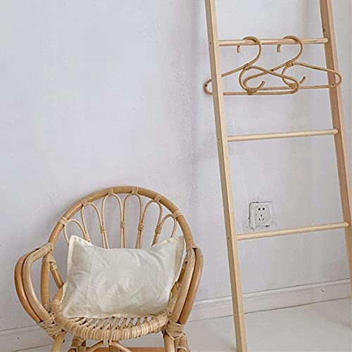 wkd-thvb 2Pcs Rattan Clothes Hanger Kids Garments Organizer Rack Children Hanger Kids Room Decor Hangers For Clothes