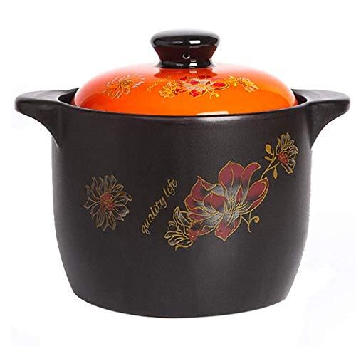 XXDTG Orange Casserole, Stovetop Soupe Vaisselle en céramique Pot sain Cocotte Pot d'argile Marmite Faïence Taille 3500ml