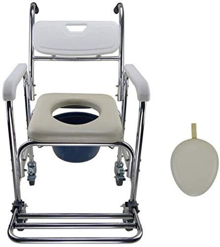 AABBC 4 in 1 Kommodenstuhl/mit Rolltoilettenstuhl/Rollstuhlduschtransportstuhl/Badezimmerhocker, 4 Radbremsen (360 °) / Mobile Toilette Ältere Person 276 lb Adipositas/A.