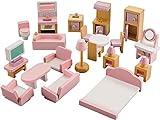 NextX Mobilier Maison de Poupée Jouet en Bois,Meubles et Accessoires Maisons pour Mini-poupées 22 Pièces pour les filles enfants