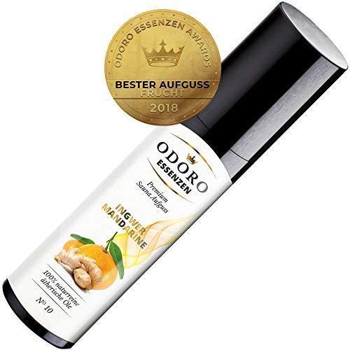 Saunaaufguss Ingwer Mandarine Premium Sauna-Öl (100ml) von Odoro Essenzen. 100% naturreine ätherische Öle mit natürlicher Orange u. Zitrone Duft im Aufguss-Mittel für fruchtige Sauna-Aufgüsse