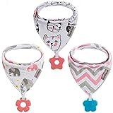 Baby Dreieckstuch Babylätzchen Bandana mit Beißspielzeug Einstellbar Spucktuch 100% Bio-Baumwolle, Super Saugfähig und Weiche, Halstücher Drool Lätzchen für Mädchen (3Pack Katze)