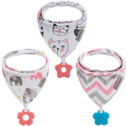 Paquet de 3 bavoirs bandana pour bébé et jouets de dentition Paquet de 3 en 100% coton biologique, super absorbant et doux unisexe (3 pièces Kitty)
