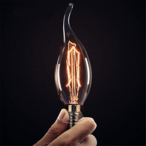 lingruiyi 8-Pack Edison Vintage Incandescent Chandelier 40W 110-130V, 280 Lumen Bent Flame Tip Bulb with Candelabra Base (E12) Home Light Fixtures Decorative, Dimmable, 8pack