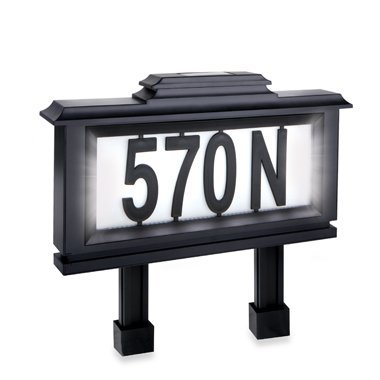 Emerson Solar-powered Lighted Address Stake