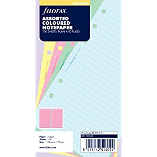 Filofax Personal Assorted Coloured Notepaper Plain and Ruled Value Pack