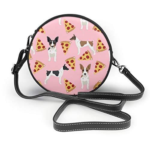 Eishockey Damen Fashion Runde Crossbody Schultertasche Handtasche Kleine Geldbörse Schule Arbeitstasche, Pink - Rat Terrier Hund - Größe: Einheitsgröße