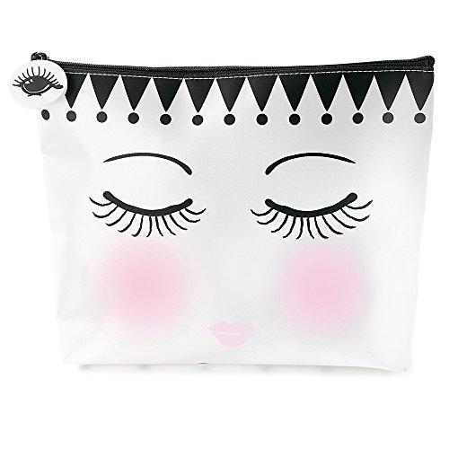 Flache Tasche Kosmetiktasche Größe M aus der Serie EYES AND DOTS von Miss Etoile