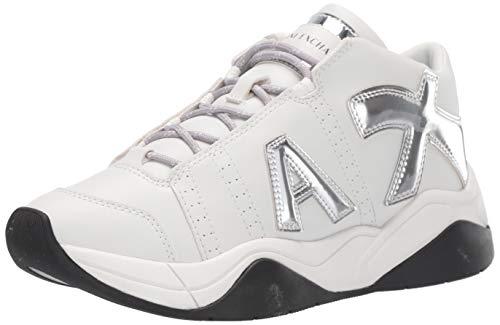 A|X Armani Exchange Damen Retro Running Sneakers Laufschuhe, Off-White und Silber, 37 EU