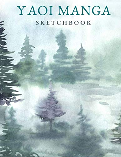 YAOI MANGA Sketchbook: 8.5x11  Forest Watercolor Sketch Book