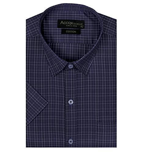 ACCOX Men's Half Sleeves Regular Fit Cotton Formal Checkred Shirts(GCR45)