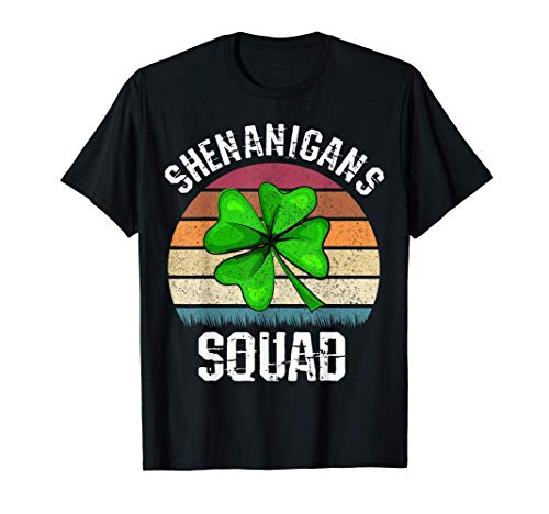 Shenanigans Squad Retro Vintage Shamrock Día de San Patricio Camiseta