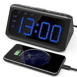 Alarm Clock Radio, IWVMEM Digital Alarm Clock with FM Radio, Large LED Display, Dual Alarms, 6 Level Dimmer, USB Charging Port, Snooze, Alarm Clock for Bedroom, 12/24H (Adapter not Included)