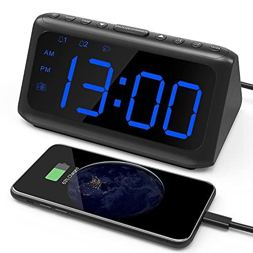 Alarm Clock Radio, IWVMEM Digital Alarm Clock with FM Radio, Large LED Display, Dual Alarms, 6 Level Dimmer, USB Charging Port, Snooze, Alarm Clock for Bedroom, 12/24H