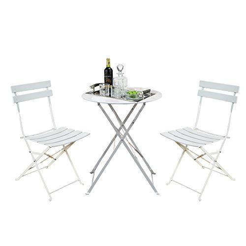 Grand patio - Juego de 3 sillas plegables de metal, 2 sillas y 1 mesa, resistente a la intemperie, para interiores, patio, jardín, color blanco
