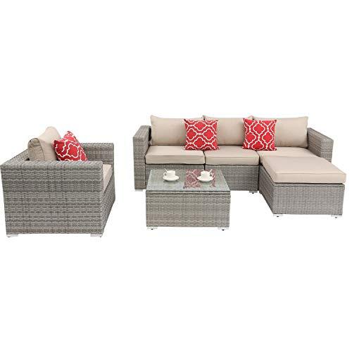 Do4U Patio Furniture Set 6-Piece Outdoor Lawn Backyard Poolside All Weather PE Wicker Rattan Steel Frame Sectional Cushioned Seat Sofa Conversation Set (Light Gray)