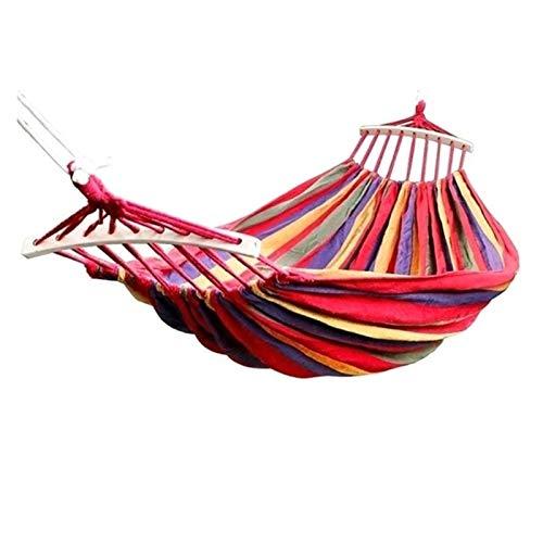 LIANYG 190x150cm Colgando Hamaca Doble/Individual Adulto Columpio Silla Viaje Camping Cama Dormir Muebles de Exterior hamacas Colgantes 228 (Color : Red 190x150cm)