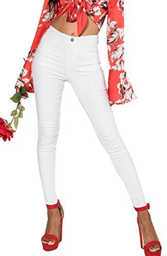 EGOMAXX Damen Hose Leder Optik Skinny High Waist Biker Kunstleder, Farben:Weiß, Größe:34