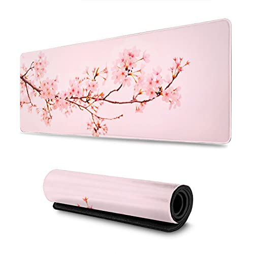 Gaming Mouse Pad Pink Sakura Cherry Blossom Flower XXL XL Large Mouse Pad Mat Long Extended Mousepad Desk Pad Non-Slip Rubber Mice Pads Stitched Edges (31.5x11.8x0.12 Inch)