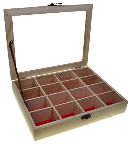 JB8 Caja de joyería Con tapa de cristal Rectangular Cofre del tesoro...
