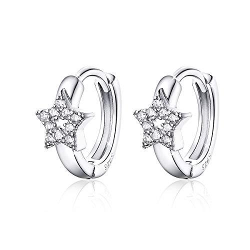 Orecchini a cerchio per donna Orecchini in argento sterling con stella CZ Piccoli orecchini Huggie Regali per gioielli da donna