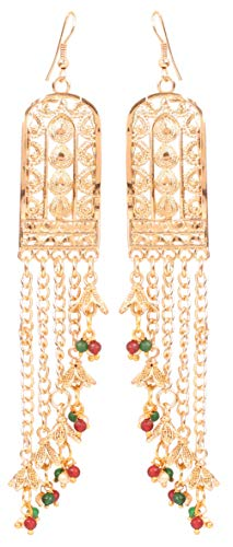 Touchstone Indian Bollywood Desire Innovative Hand Crafted Cut Work Light Weight Multi Color Beads Designer Jewelry Long Dangling Chandelier Earrings In Antique Gold Tone For Women.
