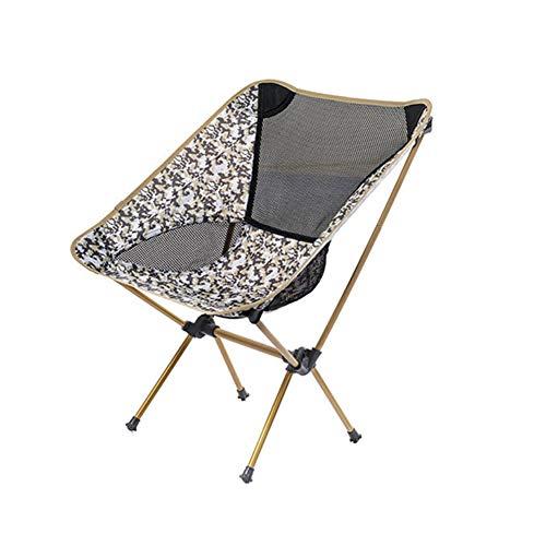 T ECH Außen Klappstuhl beweglicher Ultra Light Moon Chair Aluminium Angeln Hocker Freizeit-Picknick-Grill Strand Folding Camping Fischen-Stuhl Sketch Chair,Gold